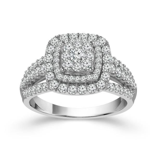 10k White Gold 1ctw Double Halo Diamond Engagement Ring Robert Irwin Jewelers Memphis, TN