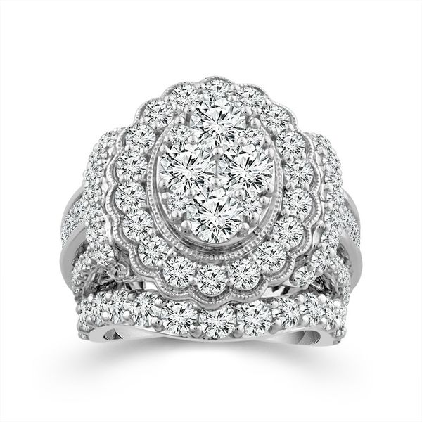 14k White Gold 7.00ctw Oval Halo Cluster Diamond Engagement Ring Robert Irwin Jewelers Memphis, TN