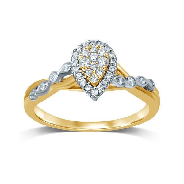14k Two Tone Gold 0.25ctw Diamond Pear Shape Halo Cluster Engagement Ring Robert Irwin Jewelers Memphis, TN