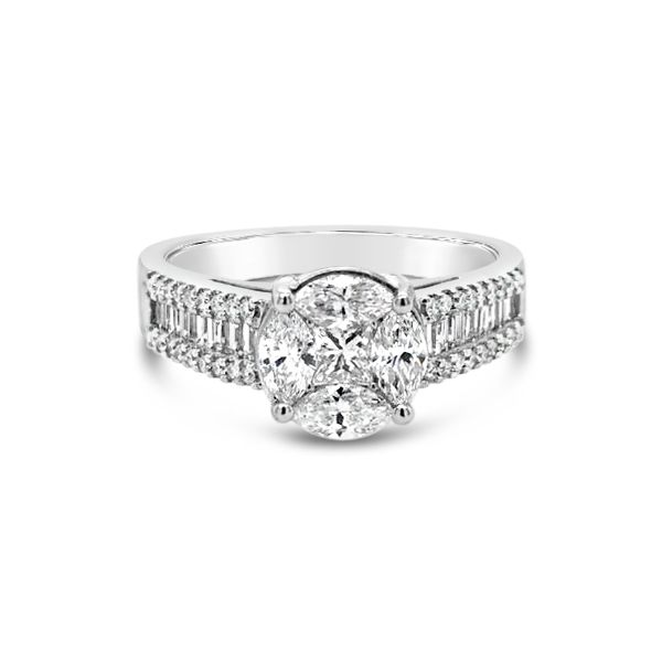 14k White Gold 1.10ctw Diamond Cluster Engagement Ring Robert Irwin Jewelers Memphis, TN