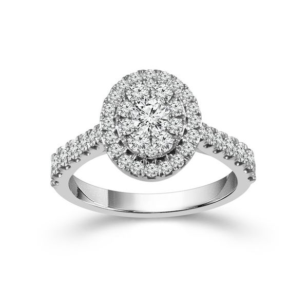 1 Carat Oval Halo Cluster Engagement Ring Robert Irwin Jewelers Memphis, TN