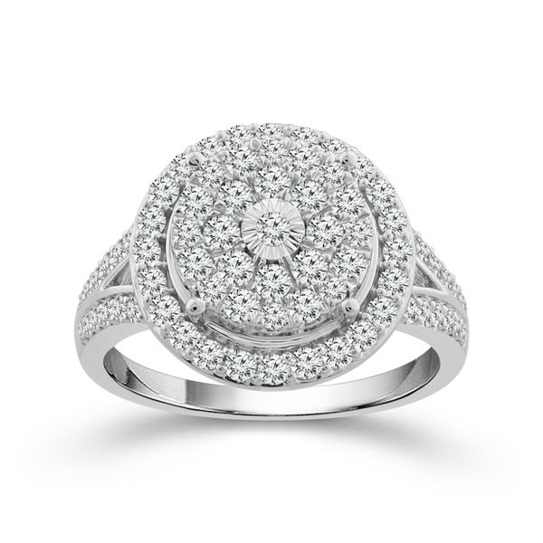 10 Karat White Gold 1 Carat Round Halo Engagement Ring Robert Irwin Jewelers Memphis, TN