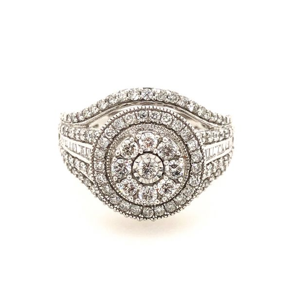 10k White Gold 1.00ctw Diamond Round Halo Cluster Engagement Ring Robert Irwin Jewelers Memphis, TN