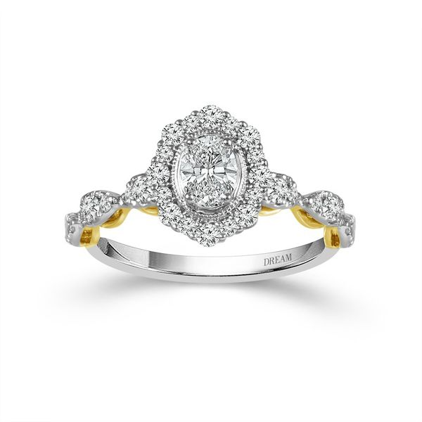 14k White and Yellow Gold 0.85ctw Diamond Engagement Ring With 0.37ct Oval Center Robert Irwin Jewelers Memphis, TN