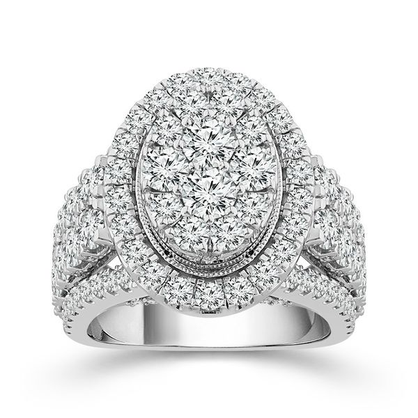 10k White Gold 4.00ctw Diamond Oval Halo Cluster Engagement Ring Robert Irwin Jewelers Memphis, TN