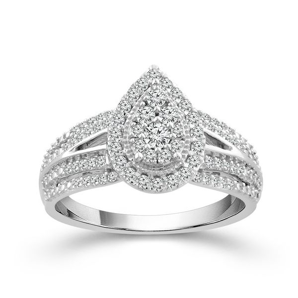 10k White Gold 0.50ctw Diamond Pear Halo Cluster Engagement Ring Robert Irwin Jewelers Memphis, TN