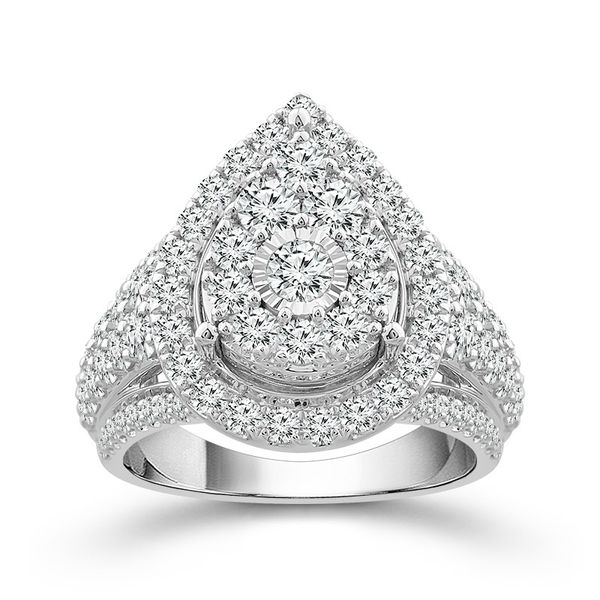 10k White Gold 2.00ctw Diamond Pear Halo Cluster Engagement Ring Robert Irwin Jewelers Memphis, TN
