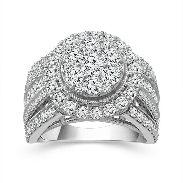 10k White Gold 3ctw Diamond Halo Cluster Engagement Ring Robert Irwin Jewelers Memphis, TN