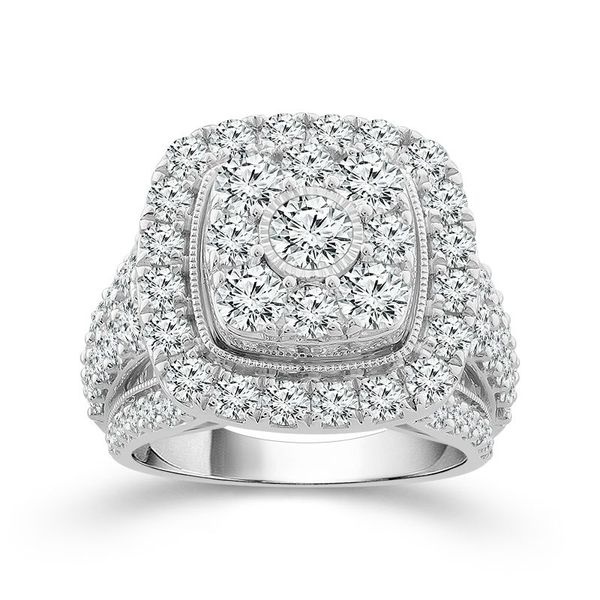 10k White Gold 4.00ctw Diamond Square Halo Cluster Engagement Ring Robert Irwin Jewelers Memphis, TN