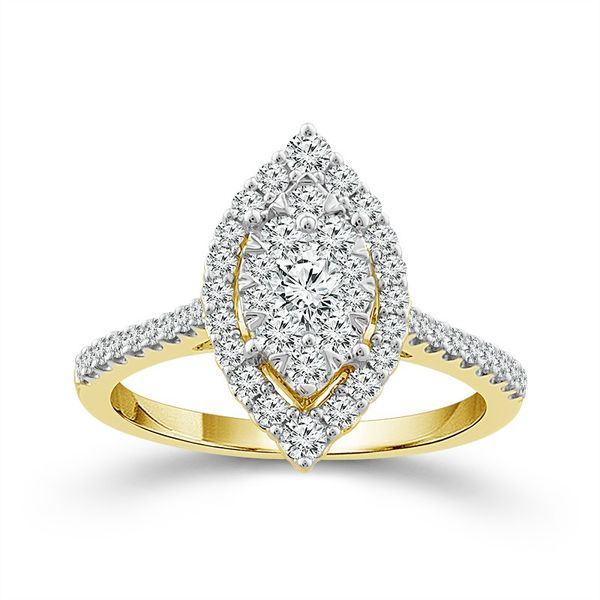 10k Yellow Gold 0.75ctw Diamond Marquise Halo Cluster Engagement Ring Robert Irwin Jewelers Memphis, TN
