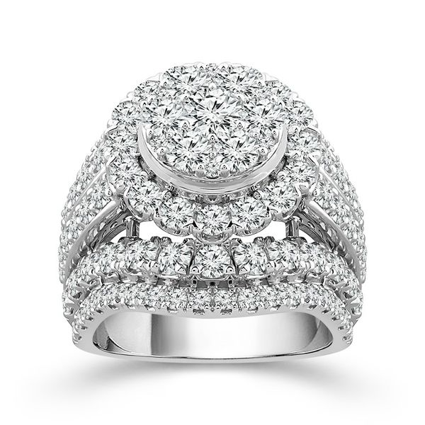 14k White Gold 5.00ctw Diamond Halo Cluster Engagement Ring Robert Irwin Jewelers Memphis, TN