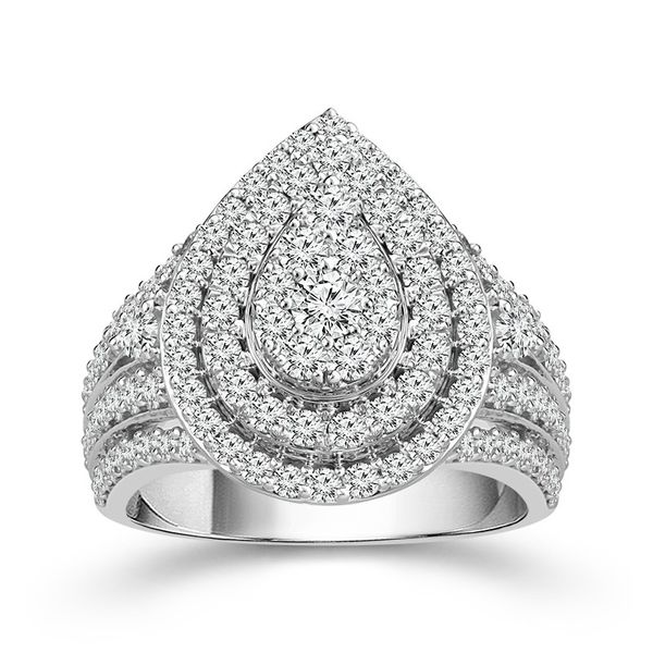 10k White Gold 2.00ctw Diamond Pear Shape Double Halo Cluster Engagement Ring Robert Irwin Jewelers Memphis, TN