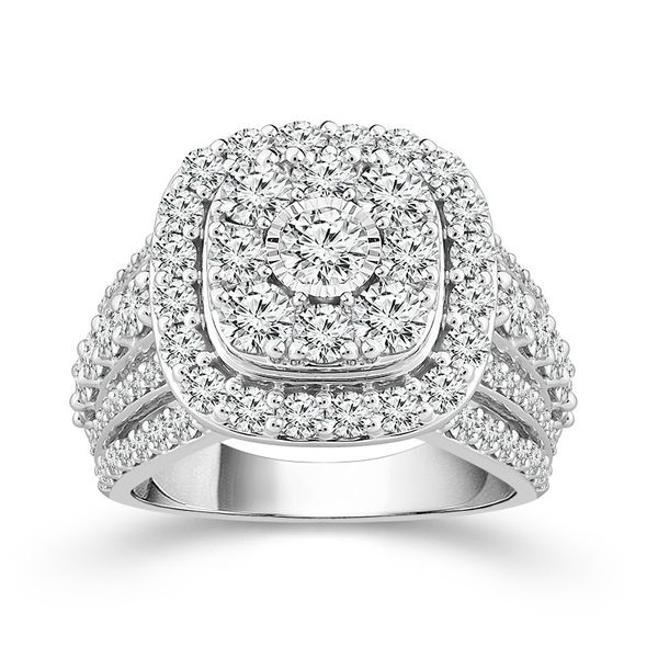 10k White Gold 3.00ctw Diamond Square Halo Cluster Engagement Ring Robert Irwin Jewelers Memphis, TN
