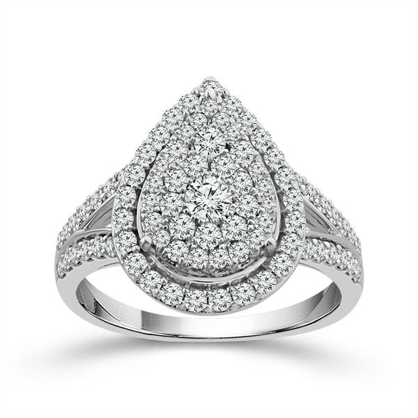 10 Karat White Gold 1 Carat Pear Shape Halo Diamond Engagement Ring Robert Irwin Jewelers Memphis, TN