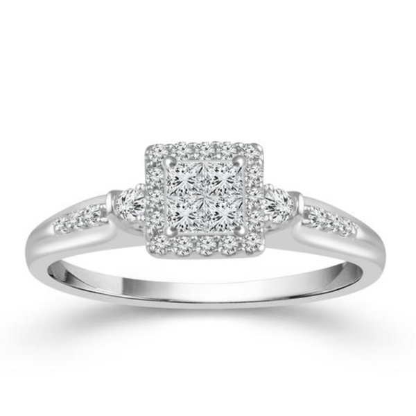 10k White Gold .20ctw Diamond Square Promise Ring Robert Irwin Jewelers Memphis, TN