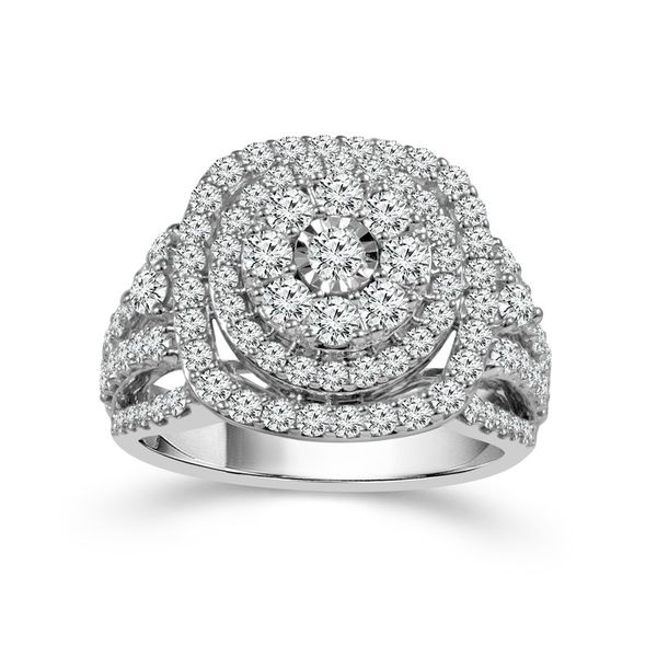 10k White Gold 2.00ctw Diamond Double Halo Cluster Engagement Ring Image 2 Robert Irwin Jewelers Memphis, TN