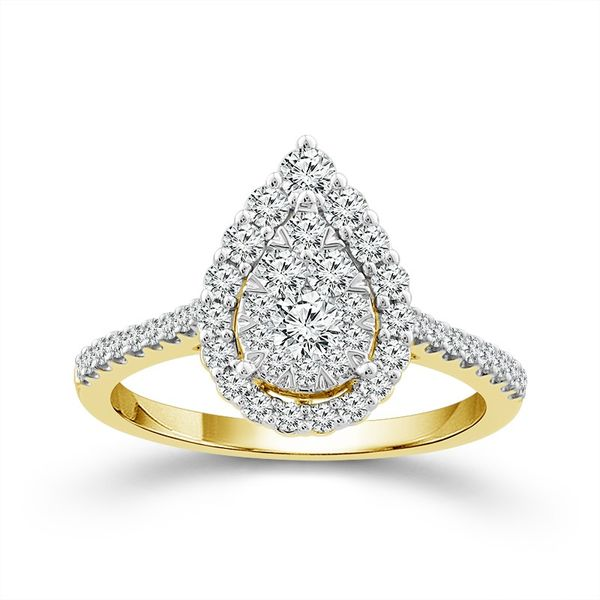 10k Yellow Gold 3/4ctw Diamond Pear Halo Cluster Engagement Ring Robert Irwin Jewelers Memphis, TN