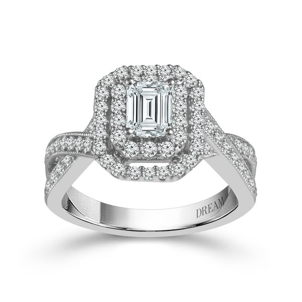 14k White Gold 1.50ctw Emerald Cut Dream Collection Engagement Ring with 0.75ct Center Diamond Robert Irwin Jewelers Memphis, TN