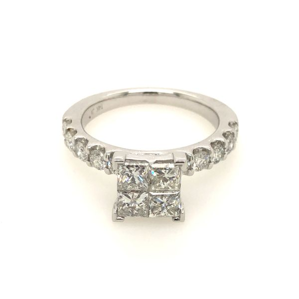 14k White Gold 1.49ctw Princess Cut Diamond Engagement Ring Robert Irwin Jewelers Memphis, TN