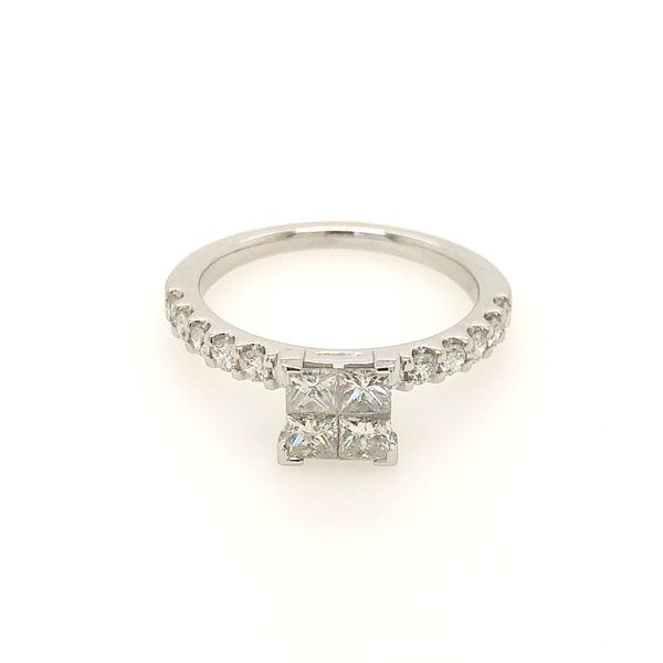 14k White Gold 0.96ctw Princess Cut Diamond Engagement Ring Robert Irwin Jewelers Memphis, TN