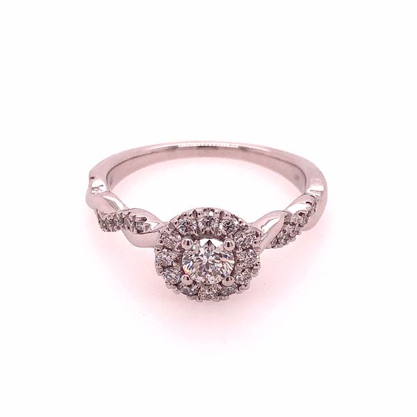 10k White Gold 0.63ctw Round Diamond Halo Engagement Ring Robert Irwin Jewelers Memphis, TN
