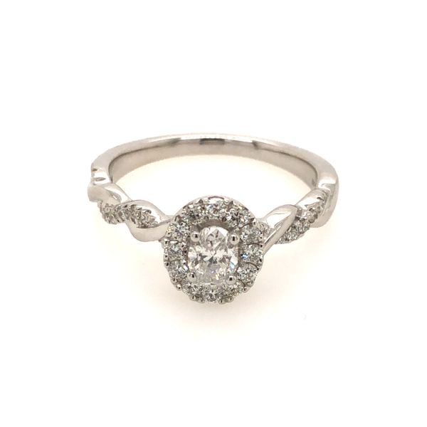 14k White Gold 0.63ctw Oval Diamond Halo Engagement Ring With 0.33ct Oval Center Diamond Robert Irwin Jewelers Memphis, TN