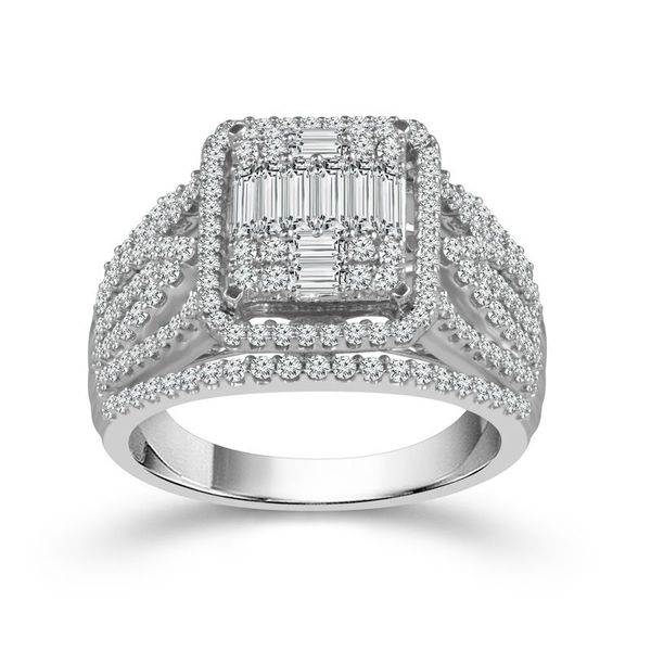 1 1/4 Carat Round and Baguette Diamond Engagement Ring Robert Irwin Jewelers Memphis, TN