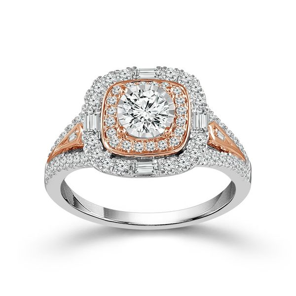 1 Carat White and Rose Gold Engagement Ring Robert Irwin Jewelers Memphis, TN