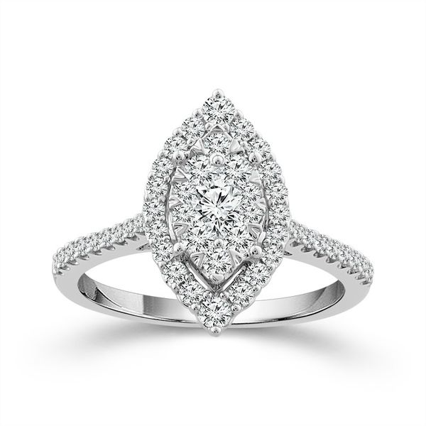 10k White Gold 0.75ctw Marquise Diamond Halo Cluster Engagement Ring Robert Irwin Jewelers Memphis, TN