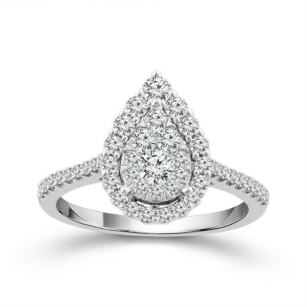 10k White Gold 3/4ctw Pear Cluster Halo Diamond Engagement Ring Robert Irwin Jewelers Memphis, TN