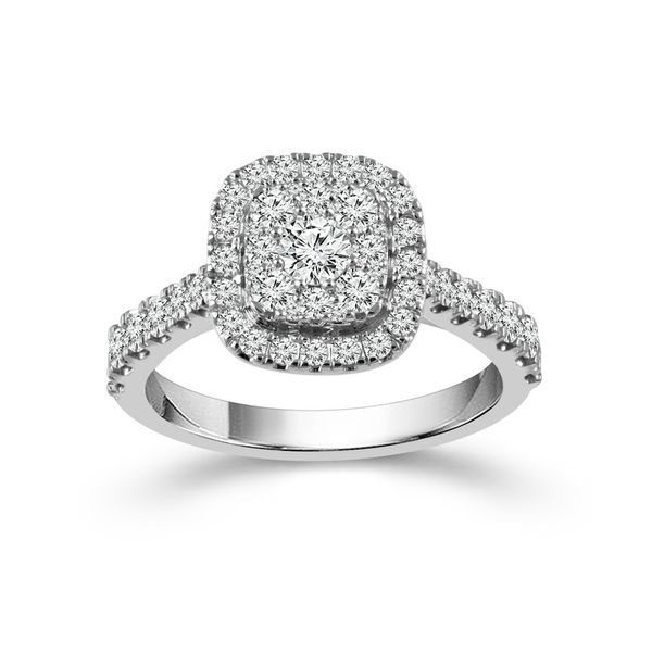 10k White Gold 1.00ctw Diamond Halo Cluster Engagement Ring Robert Irwin Jewelers Memphis, TN