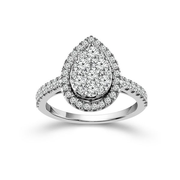 1 Carat Pear Shaped Halo Cluster Engagement Ring Robert Irwin Jewelers Memphis, TN
