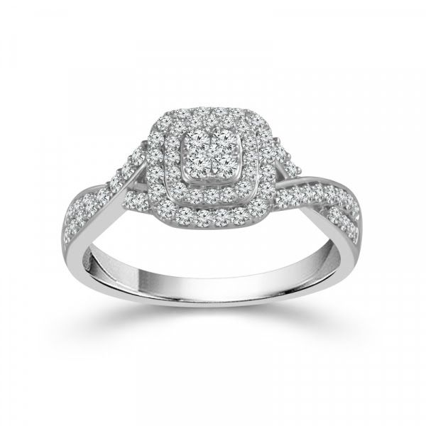 10k White Gold .50ctw Diamond Cluster Double Halo Engagement Ring Robert Irwin Jewelers Memphis, TN