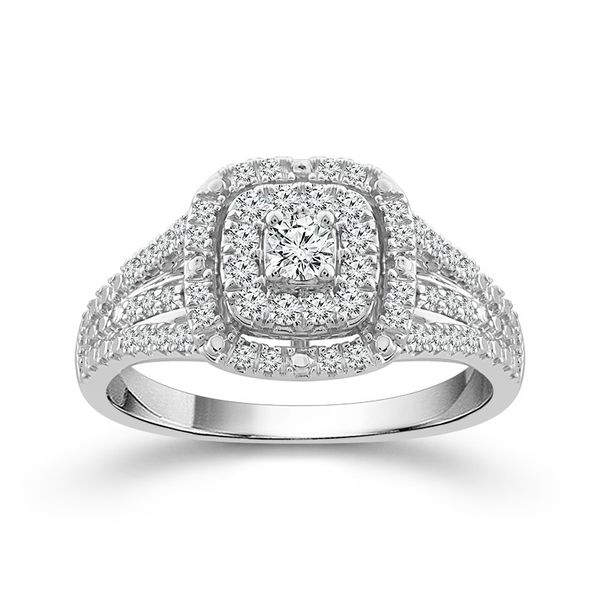 10k White Gold 0.50ctw Diamond Square Double Halo Cluster Engagement Ring Robert Irwin Jewelers Memphis, TN