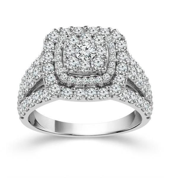 10k White Gold 2.00ctw Diamond Cluster Double Halo Engagement Ring Robert Irwin Jewelers Memphis, TN