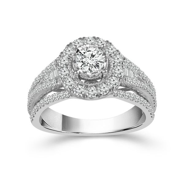 10k White Gold Endless Sparkle 1.25ctw Diamond Halo Engagement Ring With .40ctw Center Diamond Robert Irwin Jewelers Memphis, TN