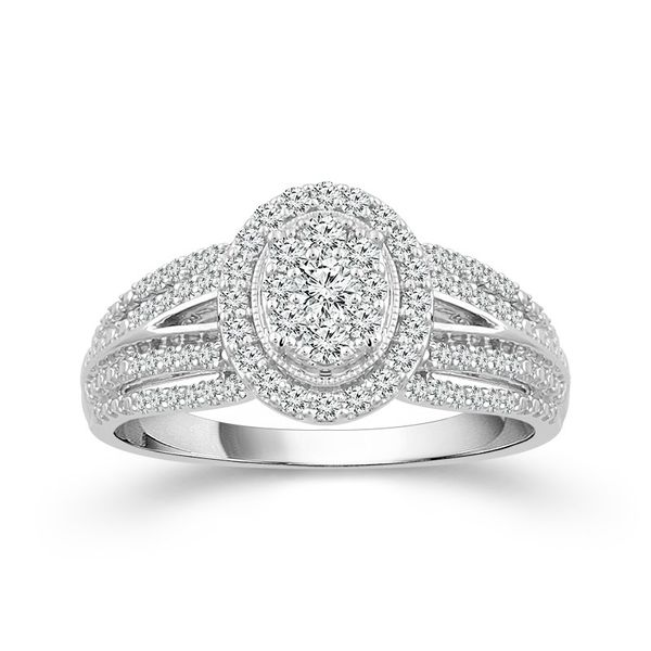10k White Gold 0.50ctw Diamond Oval Halo Cluster Engagement Ring Robert Irwin Jewelers Memphis, TN