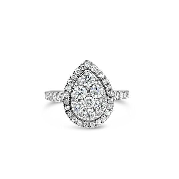 10k White Gold 1.00ctw Pear Shaped Cluster Engagement Ring Robert Irwin Jewelers Memphis, TN