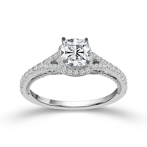 14k White Gold 0.87ctw Diamond Engagement Ring With 0.50ct Cushion Cut Center Diamond Robert Irwin Jewelers Memphis, TN