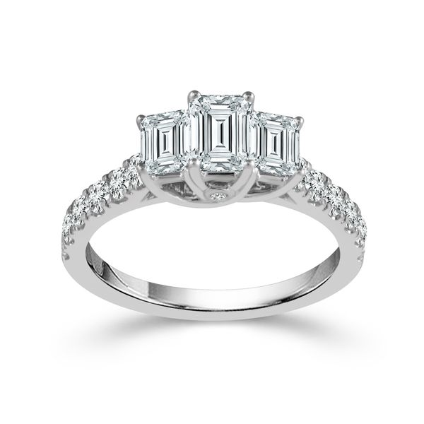 14k White Gold 1.00ctw Three Stone Emerald Cut Diamond Engagement Ring Robert Irwin Jewelers Memphis, TN
