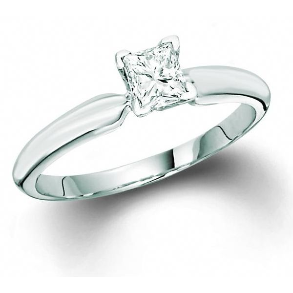 14k White Gold 0.33ct Princess Cut Solitaire Robert Irwin Jewelers Memphis, TN