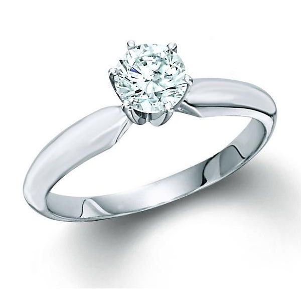 14k White Gold 1.00ctw Round Diamond Solitaire Engagement Ring Robert Irwin Jewelers Memphis, TN
