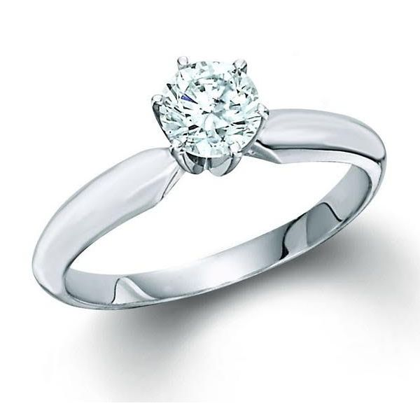 14k White Gold 0.50ct Round Brilliant 6 Prong Solitaire Robert Irwin Jewelers Memphis, TN