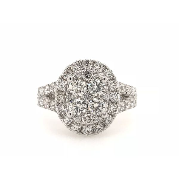 14k White Gold 2ctw Lab Grown Diamond Cluster Engagement Ring Robert Irwin Jewelers Memphis, TN