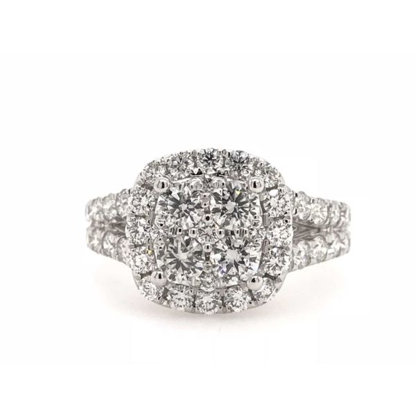 14k White Gold 2ctw Lab Grown Diamond Cluster Cushion Engagement Ring Robert Irwin Jewelers Memphis, TN