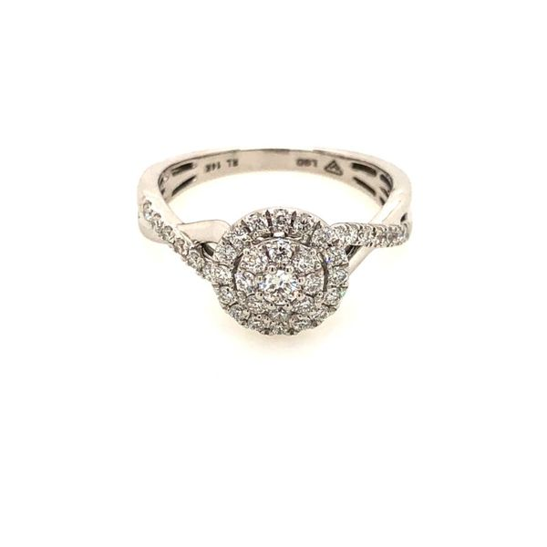 14k White Gold 0.50ctw Lab Grown Diamond Cluster Engagement Ring Robert Irwin Jewelers Memphis, TN