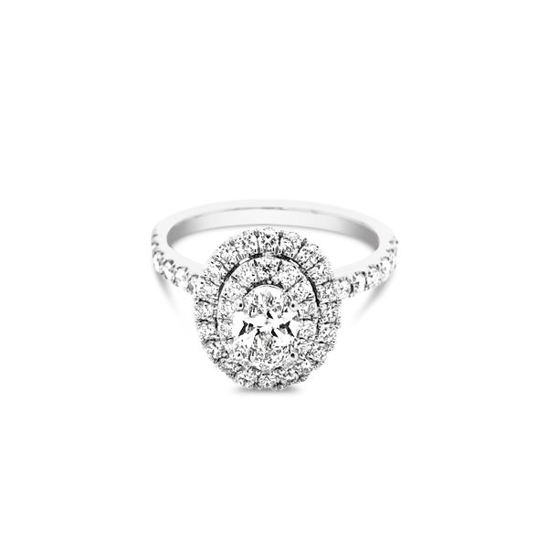 14k White Gold 1.25ctw Lab Grown Diamond Double Halo Engagement Ring With 0.54ct Oval Center Robert Irwin Jewelers Memphis, TN