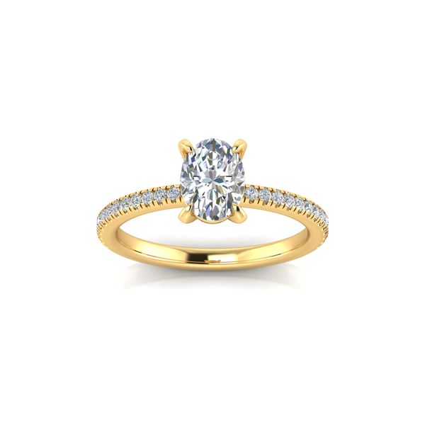 14 Karat Yellow Gold 1.50 Carat Oval Lab Grown Diamond Engagement Ring Robert Irwin Jewelers Memphis, TN