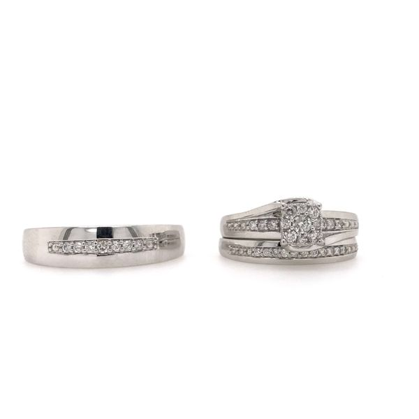 10k White Gold 0.37ctw Diamond Trio Bridal Set Robert Irwin Jewelers Memphis, TN