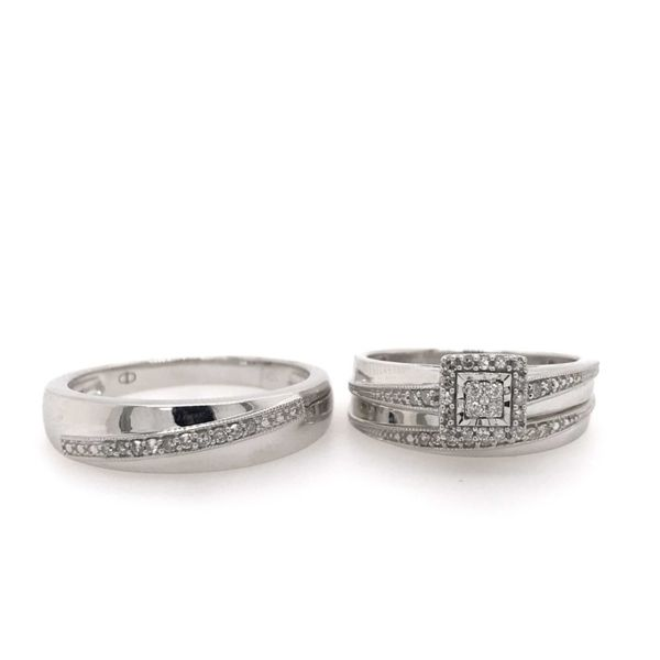 10k White Gold 0.25ctw Diamond Trio Bridal Set Robert Irwin Jewelers Memphis, TN